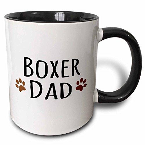 3dRose mug_153872_4 Boxer Dog Dad Doggie by Breed Brown Muddy Paw Prints Love Doggy Lover Proud Pet Owner Two Tone Black Mug, 11 oz, Black/White