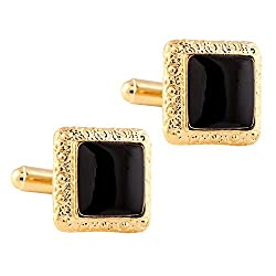TRIPIN Black Golden Square Shaped Cufflinks