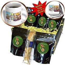Londons Times Funny Famous Cartoons - DaVinci Cold and DaVinci Hot but No DaVinci Code - Coffee Gift Baskets - Coffee Gift Basket