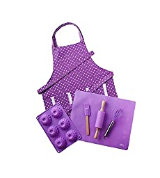Purple Children\'s Baking Set with Matching Personalized Apron by Dikor