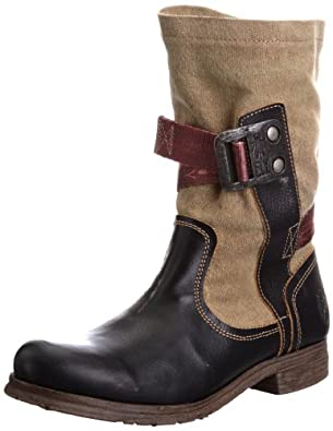 Fly London Women's Saca Black/Ocre Pull On Boots P142490000 3 UK