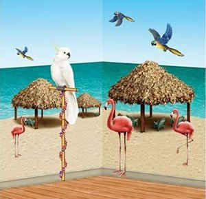 "Beistle 52006 Printed Tiki Hut and Tropical Bird Props, 8"" to 4' 2"", 10 Pieces In Package"