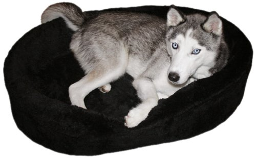 Dog Bed King USA Large Plush Fur Dog Ortho Comfort Bed, 33-Inch by 23-Inch by 7-Inch, Black