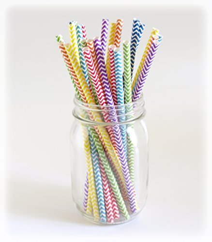 Rainbow Chevron Straws, Fat Straws, Large Drinking Straws, Smoothie Straw, 25 Pack - Rainbow Color Chevron