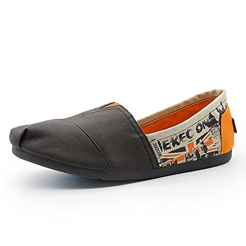 JEKECON JK-9509 Men's Slip On Canvas Flats Comfortable Alpargatas Walking Shoes gray-orange 9