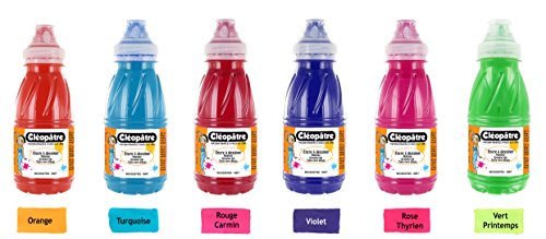 cleopatre-b-lot-de-6-encres-a-dessiner-250-ml-orange-turquoise-rouge-carmin-violet-rose-therien-vert