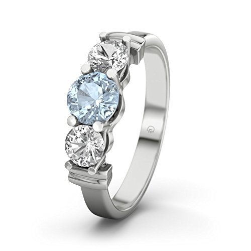 Sabrina 21DIAMONDS Women's Ring Blue Topaz Diamond Engagement Ring - Silver Engagement Ring
