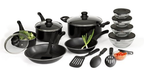 Basic Essentials 17 Piece Aluminum Cookware Set, Black