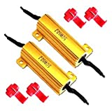 CUTEQUEEN TRADING 2PCS 50W 6Ohm LED Load Resistors for LED Turn Signal Lights or LED License Plate Lights or DRL (Fix Hyper Flash, Warning Cancellor) or stop brake with 4pc Quick wire Clip