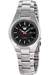 Seiko Men's SNK607K Silver Stainless-Steel Automatic Watch with Black Dial
