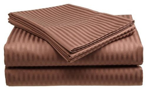 Queen Size Coffee 300 Thread Count 100% Cotton Sateen Dobby Stripe Sheet Set front-146138