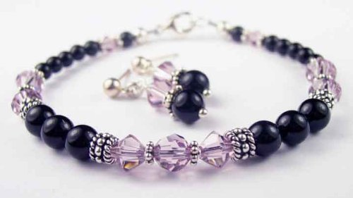 Pearl Bracelets: Alexandrite and Pearl 2 Piece Set: with Black Pearls