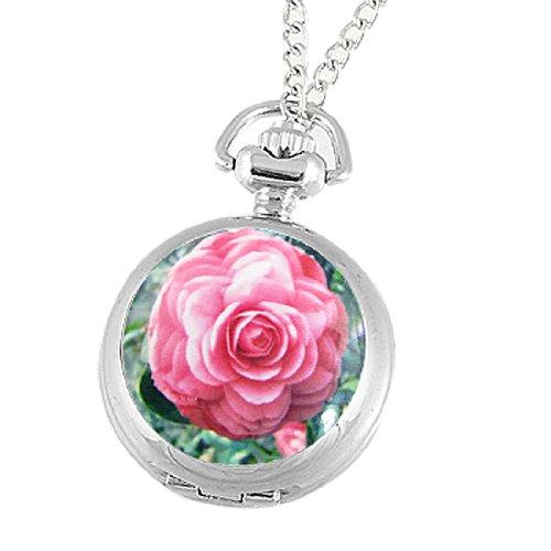 Rosallini Lady Pink Peony Print Silver Tone Necklace Pocket Watch