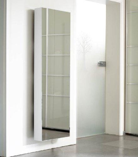 Schuhschrank-SCHUH-BERT-500-Mirror-drehbarer-Schuhschrank-Spiegelschuhschrank-Spiegel-wei-Hhe-150cm