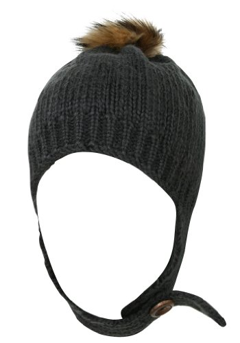 77332b5bc88 ilililly Chin Strap Rib Knit Ear Flap Beanie with Raccoon Fur PomPom Winter  Hat