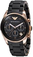 Emporio Armani Classic Collection Women's Quartz Watch with Black Dial Analogue Display and Black Rubber Strap AR5906