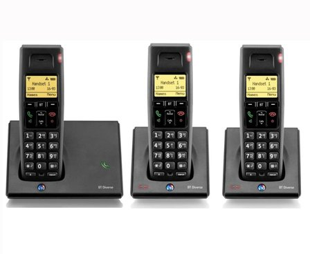 BT Diverse 7110 TRIO DECT Digital Cordless Telephone - Phone with Hands Free Speaker phone, 100 memories & Conference Calls & Intercom Between Handsets images
