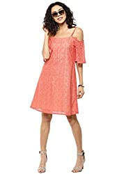Femella Women's Coral Lace Cold Shoulder Dress (DS-350324-987-COR-M)