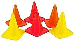 SAHNI SPORTS Plastic Training Cone Marker 4 inch, Pack of 6, Multi-Color