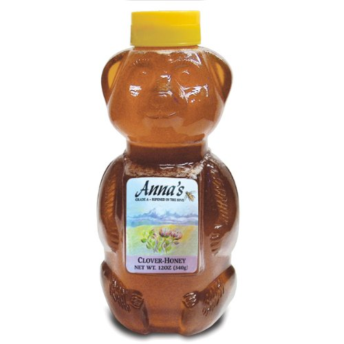 Clover Honey Bear Bottle, 12 oz - Grade A, Natural, Raw Honey - by Anna's Honey (Pack of 4) (Anna Naturals compare prices)
