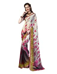 Inddus Exclusive Women Elegante Cream Georgette Printed Saree