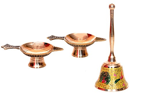 Hashcart Handmade Indian Puja Brass Oil Lamp(Set Of 2) With Yellow Pooja Bell