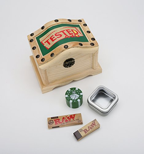 Wavy 420 Wooden Stash Box - Tobacco Box, Rolling Kit, Cigerette Rolling Tray, 8 pc. Bundle (Weed Grinder Poker Chip compare prices)