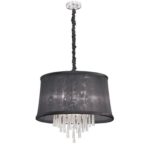Dainolite Lighting JUL-22-6-PC-115 6-Light Clear Crystal Pendant with Organza Black Shade