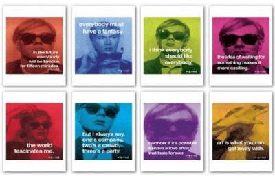 (10x10) Andy Warhol Lot of Eight Quotes Set Art Prints Posters