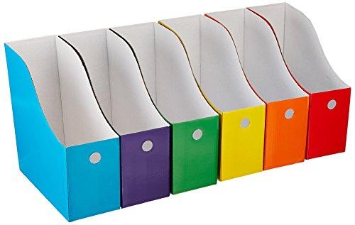 Evelots - 6 porte-revues/porte-dossiers avec étiquettes, couleurs et styles variés, multicolores.