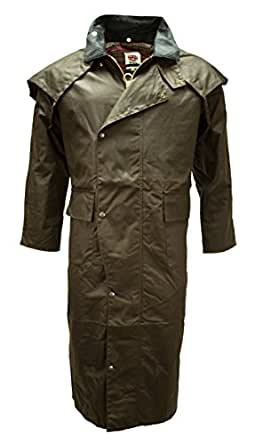 MENS WAX COTTON STOCKMAN LONG CAPE COAT JACKET WATERPROOF BRANDED Fishing Riding Sizes Small to XXL (Small, Brown)