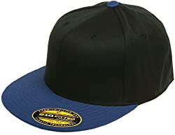 Original Blank Flexfit Flatbill Premium Fitted 210 Hat Cap Flex Fit Flat Bill Two Tone Large/Xlarge - Black/Royal