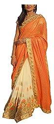 LolyDoll Women's Brocade Georgette Embroidered Work Saree_SR14 (Orange & White)