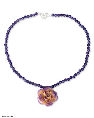 Natural rose and amethyst flower necklace, 'Forever a Rose'