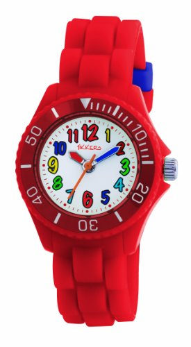 Tikkers Kids Red Rubber/Silicone Strap Watch with Funky Bright Numbers TK0018