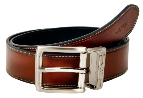 Mens Leather 1 3/8 Inch Heat Creased and Contrast Stitch Reversible Belt, 42, Brown to Black