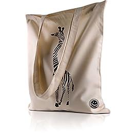 Sac de courses shopping plage motif Bestaire en toile coton Girafe zébré
