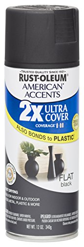 Rust Oleum 280711 American Accents Ultra Cover 2X Spray Paint, Flat Black, 12-Ounce (Black Spray Paint Plastic compare prices)