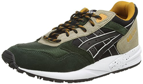 ASICS Gelsaga, Unisex Adults' Low-Top Sneakers, Multicolour (Black/Green 9090), 8 UK (42 1/2 EU)