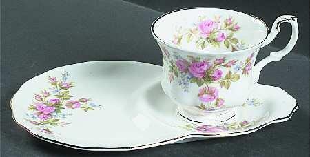 Royal Albert - Moss Rose - Tea Cup & Dessert Saucer - New -Rare