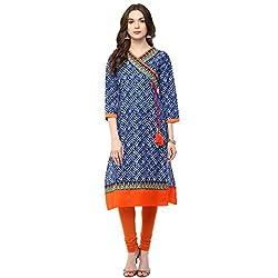 Luck In Women's Cotton Straight Kurti (LIN101BU_Blue_M)