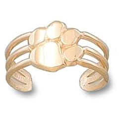 Clemson University Tiger Paw Toe Ring - 14K Yellow Gold by Logo Art