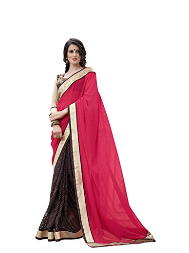 Lovely Look Latest collection of Sarees in Georgette & Brasso Fabric & in attractive Pink & Brown Color