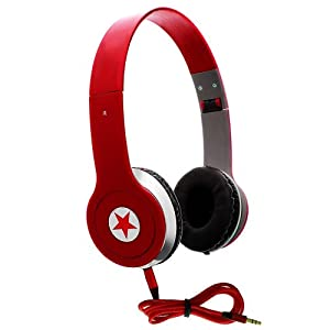 CellBig Crystallized Stereo Red Hot Foldable Headphones Earphone Headset Hands Free Headband Super Bass Effect Included Detachable AUX Cable Lead Wire Cord Open Air Design For Your Asus E600 / Fonepad / Google Nexus 7 / Cellular / Memo / Amazon Kindle Fire HD / HDX / Pad ME172V / Smart 10 / PadFone / 2 / Infinity