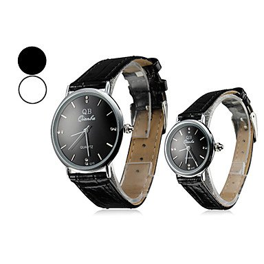 M.M.Pair Of Thin Case Style Pu Quartz Analog Couple'S Wrist Watch (Assorted Colors)