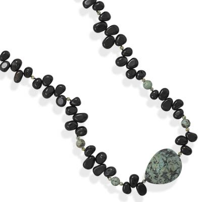 African Turquoise with Black Onyx Nuggets and Crystal Endless Necklace 36 inches