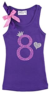 Bubblegum Divas Big Girls' 8th Birthday Purple Princess Crown Tank Top Shirt 9-10