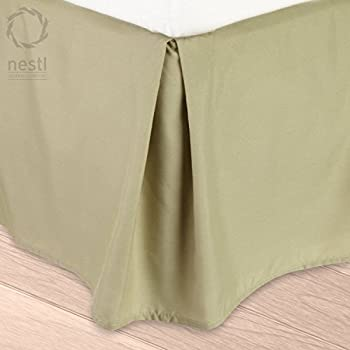 Nestl Bedding Double Brushed Microfiber Dust Ruffle, 14-Inch Tailored Drop Pleated Queen Bed-Skirt, Green