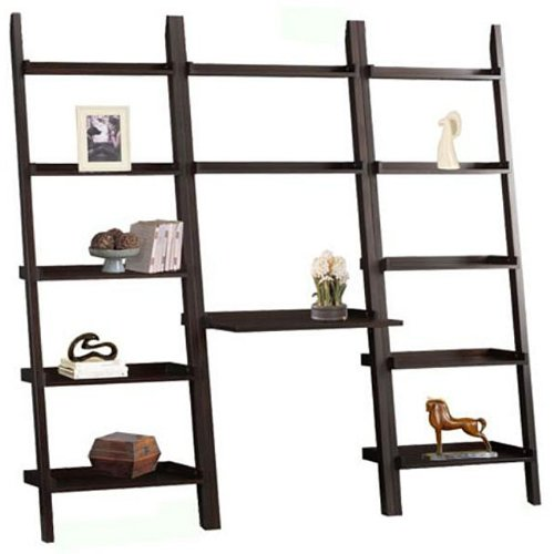 wall unit ladder bookcase with desk