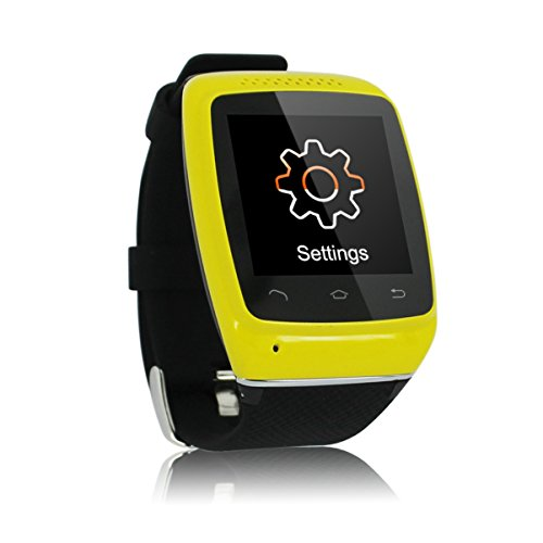 CNPGD® S12 Smart Sync Call SMS Bluetooth Watch Pedometer/Recording/Anti-Lost for iPhone 5S,5,4S,4 Android Samsung S5,S4,S3,S2,Note 3,Note 2(IOS System Can Use Partial Function) (Black/Yellow)
